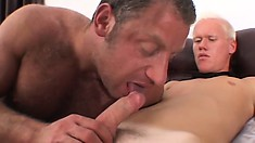 Young twink gets sucked and takes a big bone balls deep in his ass