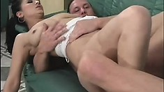 Brunette tart with nice curves swallows a dick with her hungry cunt