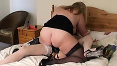 Busty cutie Emily fucks chunky mature Rachel after eating pussy