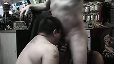 Kinky gay studs explore their sexual desires and fantasies in a sex shop