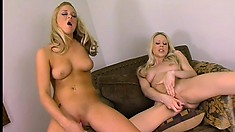 Two blond girls worth dreaming of caught playing with vibrators