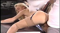 Sexy blonde babe gets bent over the trunk and tapped in the ass