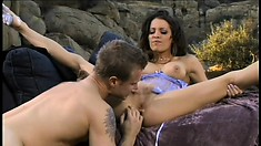 Ravishing Vanessa Lane gets her twat licked, fingered and fucked outside