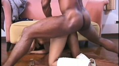 Striking blonde with sexy legs Letitia takes a black prick up her ass