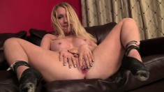 Pretty slim blonde rubbing her clit while she is getting a deep pounding