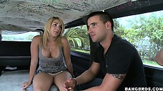 The Bang Bus is out and about and this blonde newbie gets licked up her dress