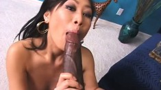 This petite Asian is almost split in two by a gigantic black cock