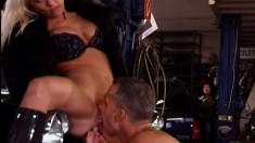 Well-graced bitch Sandra Blond is licked and rammed by filthy dude