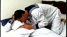 Sailor boys sneak off for a little R&R of cock sucking and butt banging