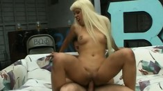 Naughty blonde Velvet Rose sucks a long dick and then gets fucked hard