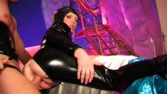 Slinky slut in latex outfit Nicolette is pounded by aggressive Jerry Zikes