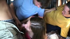 Haley Paige climbs aboard a van to have her ass crammed with cock