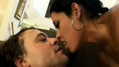 Slutty Latina seduces a white guy and seizes the chance to suck and fuck his dick
