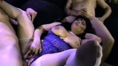 Ginni Lewis gives into temptation and fucks a pack of hung dudes