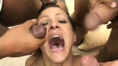 Slutty blonde mom has three black guys filling her holes with their huge cocks