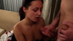 Spicy brunette with a fabulous booty fucks a hard cock after a date