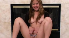 Busty chick with a hot ass Lyca fills her tight snatch with a dildo