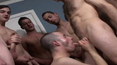 Brendan Shaw has his friends hammering his ass and cumming on his face