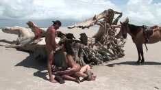 Dark Skinned Beauty Elodie Reda Gets Double Penetrated At The Beach