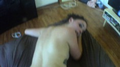 Bonnie gives a little head and gets her twat nailed and sucks him off in POV