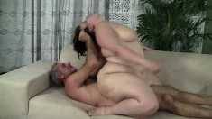Chubby young brunette Cherie has an old man roughly pounding her pussy