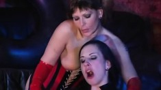 Four Ravishing Lesbians In Latex Outfits Fuck Each Other In Every Hole