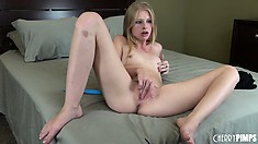 From the pussy to the ass, and so it goes, for naughty blonde Avril Hall in this solo