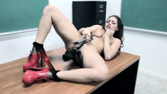 Gracie gets kinky and can't wait to finger herself with a naughty glove