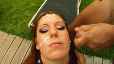 Charming redhead Suzane gets double stuffed and takes a huge facial