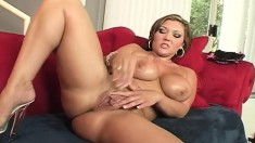 Stacked blonde fingers her needy cunt and then fucks a throbbing dick