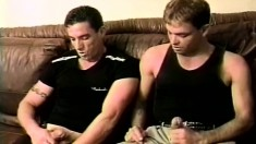 Two lustful gay buddies taste each other's asses and then fuck hard
