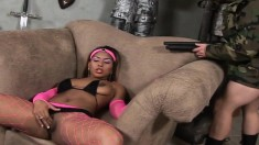 Pretty In Pink Ebony Eats His White Prick And Gets Her Twat Nailed
