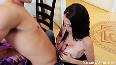 McKenzie Lee puts out that hot body for him to play with and she sucks