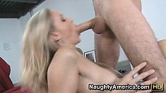 Julia Ann loves the way this stranger makes her hairy snatch wet