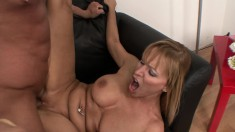 Big breasted blonde milf uses the art of seduction to get banged good