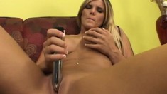 Hot blonde with big tits plays with a dildo and then fucks a hard pole