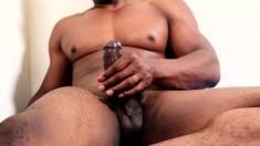 Black stallion with a fabulous body Akira Jyn pleases his long stick