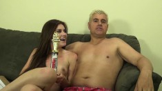 Emma Stoned indulges in a hot session of intense drilling on the couch