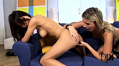 Slutty Asian hottie and her blonde gal pal get nasty fingering and licking ass