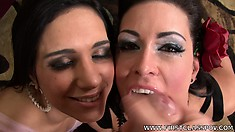 Jessica Jaymes and Tia Cyrus share a hard cock and his cum load
