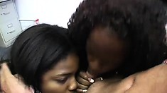 Ebony chicks Anabelle and Trinity head to the office to give the white boss head
