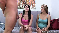 Two chicks are getting coaxed into showing their pure vaginas