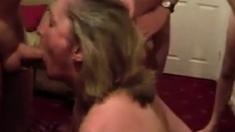 Cumslut girl sucks a lot of men