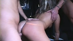 Slutty tart gets creamed all over her chubby buddy after a banging