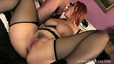 Fascinating redhead with big boobs and a superb ass Siri passionately fucks a big cock