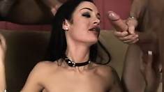 Stacked brunette Angelina Valentine fully enjoys her first interracial threesome