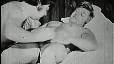 Old, vintage gay movie of a college stud getting his throat fucked
