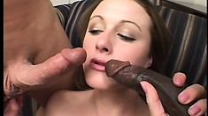 She always wanted to fuck a black cock so her hubby got her one