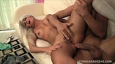 Young blonde begs her boyfriend to fill her up with his warm spunk