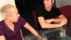 Frankie Jay and Ian Cody hook up for some sexy meat eating and ass pumping